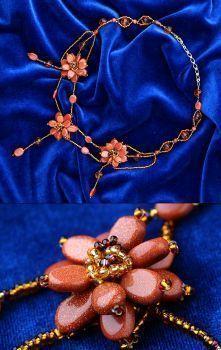 """Эксклюзивные украшения из бисера и полудрагоценных камней :: Колье :: 512.  Колье  """"Золотистые цветы """" ."""