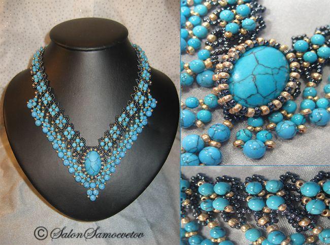 Эксклюзивные украшения из бисера и полудрагоценных камней :: Колье :: 553.