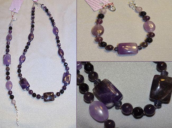 Эксклюзивные украшения из бисера и полудрагоценных камней :: Другое :: 137.  Браслет Аметист, агат.