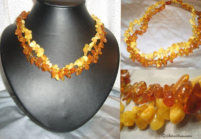 Эксклюзивные украшения из бисера и полудрагоценных камней :: Колье :: 767.  Бусы Янтарь.Две нити.