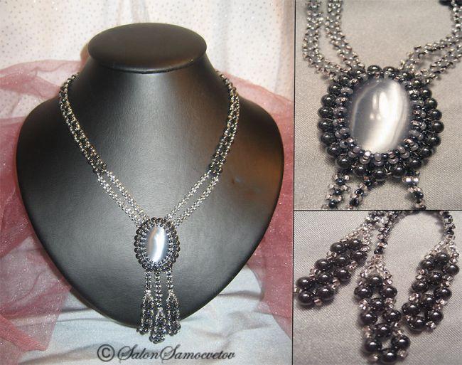 Эксклюзивные украшения из бисера и полудрагоценных камней :: Колье :: 557.  Колье Герцогиня Эльба.  Гематит.