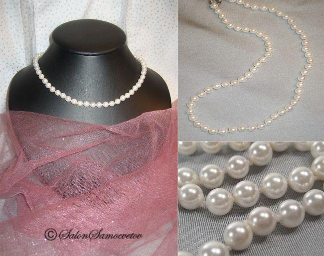 Эксклюзивные украшения из бисера и полудрагоценных камней :: Колье :: 785.  Бусы Белый жемчуг.
